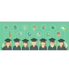 Flat style kids graduation concept with school vector