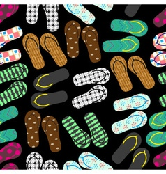 Colorful variation of flip flops summer shoes dark vector