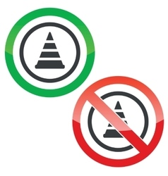 Traffic cone permission signs vector