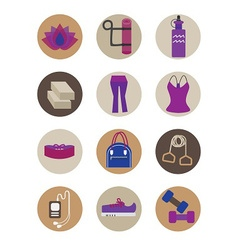 Flat essential yoga accessory icons set vector