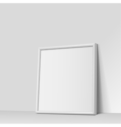 Realistic white square shape frame for paintings vector