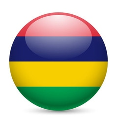 Round glossy icon of mauritius vector