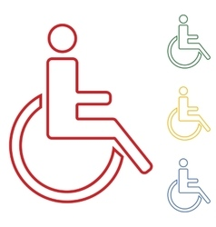 Disabled set of line icons vector