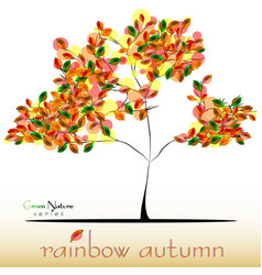 Abstract tree in green red yellow foliage at fall vector
