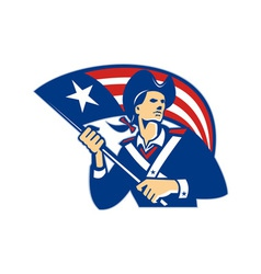 American Patriot Minuteman With Flag Retro vector image