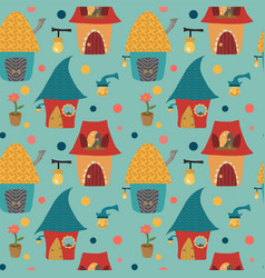 Cartoon houses childlike pattern on blue backgroun vector