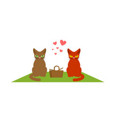 Cat lovers on picnic meal in nature blanket and vector