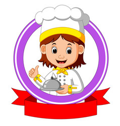 chef cook holding plate dish vector image vector image