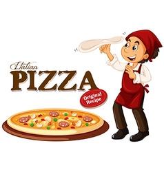 Chef making italian pizza vector image vector image