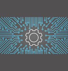 Cog wheel over computer chip moterboard background vector