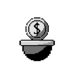 Contour coin digital money in the platform game vector