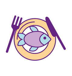 cutlery kitchen with fish vector image vector image