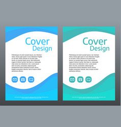 Design template for brochure or cover blue and vector