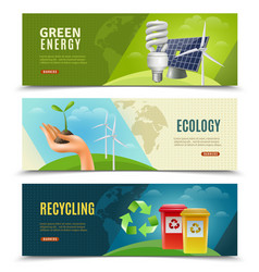 ecological 3 horizontal banner set vector image vector image