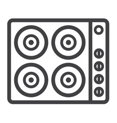 Electric hot plate line icon electrical stove vector