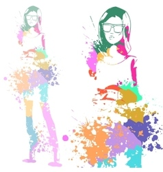 fashion look girl with color splashes vector image vector image