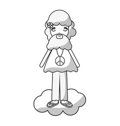 figure man in cloud peace and love vector image vector image