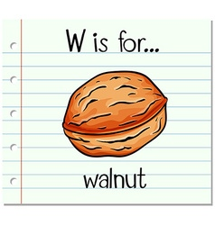 Flashcard letter w is for walnut vector