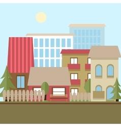 Flat design urban landscape day vector image