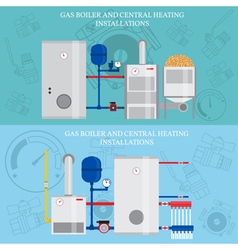 Gas boiler and central heating installations flat vector