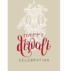 Happy diwali greeting card with hand written vector