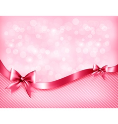 Holiday pink background with gift glossy bows and vector image vector image