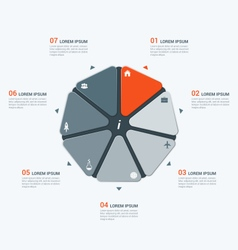 Infographic temlate with heptagon 7 options vector