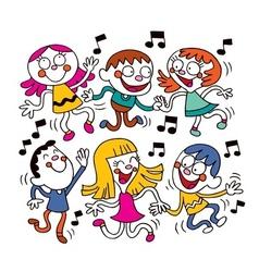 Kids dancing vector