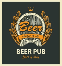 label for beer pub with barrel and coat of arms vector image vector image