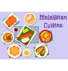 Malaysian cuisine fish and meat dishes icon vector
