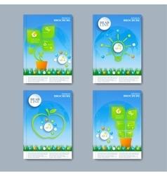 Modern set of brochures in the green vector image