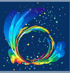 Multicolored round abstract element on dark backgr vector