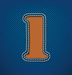 Number 1 made from leather on jeans background vector image