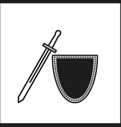 one sword with shield icon vector image