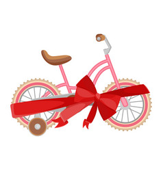 Pink bicycle in decorative wrapping ribbon with vector