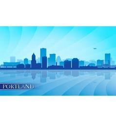 Portland city skyline silhouette background vector