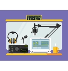 Professional radio station studio with microphones vector image vector image