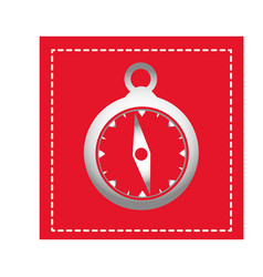 Red square shape frame with compass vector