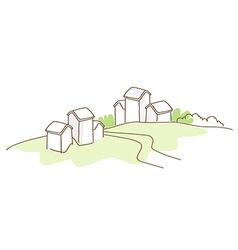 Rural house green landscape vector image vector image