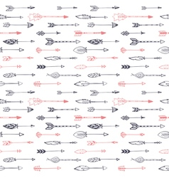 Seamless ethnic pattern with arrows Hand drawn set vector image