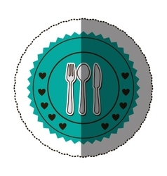 Sticker color round frame with cutlery set vector