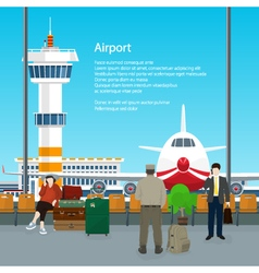 Waiting Room in Airport and Text vector image vector image