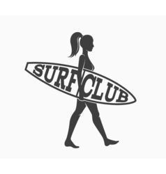 Woman goes surfing with surfboard surf club logo vector