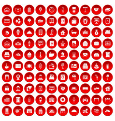 100 hotel icons set red vector