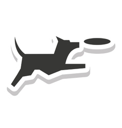 dog pet silhouette isolated icon vector image