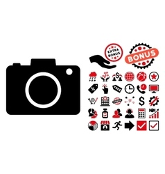 Photo Camera Flat Icon with Bonus vector image