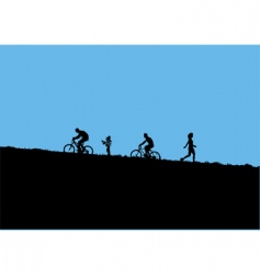 mountain bikers vector image
