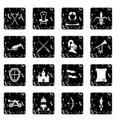 Medieval army icons set grunge style vector