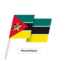 Mozambique ribbon waving flag isolated on white vector