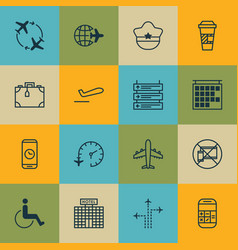 Set of 16 traveling icons includes call duration vector
